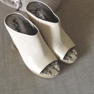 Kylie Open Toe Platform Leather Wedge Mule